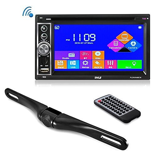 Premium 6.5'' Double-DIN Touchscreen Car Stereo Receiver System Video DVD USB Multimedia Player And Hands-Free Bluetooth - With Die-Cast Rearview Waterproof Backup Camera (PLDNV63BCM) by Pyle