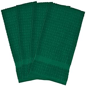 "DII 100% Cotton, Ultra Absorbent, Heavy Duty, Drying & Cleaning, Everyday Kitchen Basic, Waffle Terry Dishtowel, 15 x 26"", Set of 4- Dark Green"