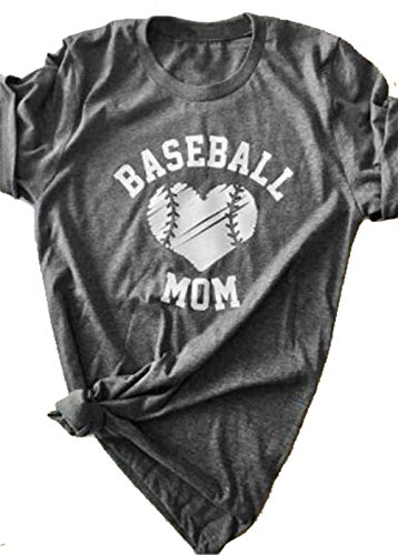 DUTUT Baseball Mom Heart O-Neck T-Shirt Women Funny Letter Print Short Sleeve Tops Size US M/Tag L (Heart Baseball T-shirt)