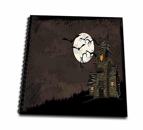 [3dRose Halloween Haunted House with A Moon and Bats-Memory Book, 12 by 12