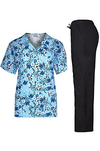 MedPro Women's Medical Scrub Set with Printed Wrap Top and Cargo Pants Blue Black - Cute Scrub