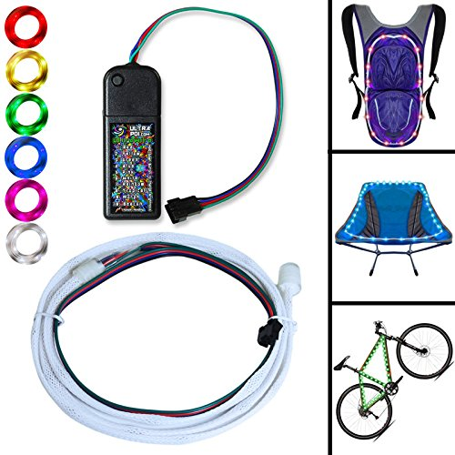 UltraPoi – UltraWire Mini – Multi Color String Lights for Bike, Camping, Festivals, Safety, Emergencies - Portable Battery LED Stip - Better Than El Wire