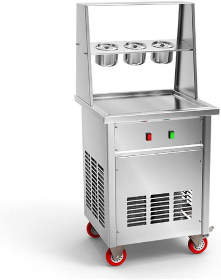 TX® 35cm/13.77'' single round pan fry ice cream machine fried ice cream rolled machine roll ice cream machine US snack food street food equipment for Bars, ice cream store, Cafes with three buckets foot pedal scrapper and compressor (110V/60HZ, main photo showed)