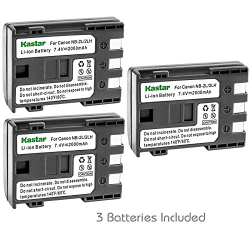 Kastar Battery (3-Pack) for Canon NB-2L NB-2LH NB-2L12 NB-2L14 NB-2L24 and PowerShot G7 G9 S30 S40 S45 S50 S60 S70 S80 DC410 DC420 VIXIA HF R10 HF R100 HF R11 EOS 350D 400D Digital Rebel XT Xti (Replacement 2l14 Nb)