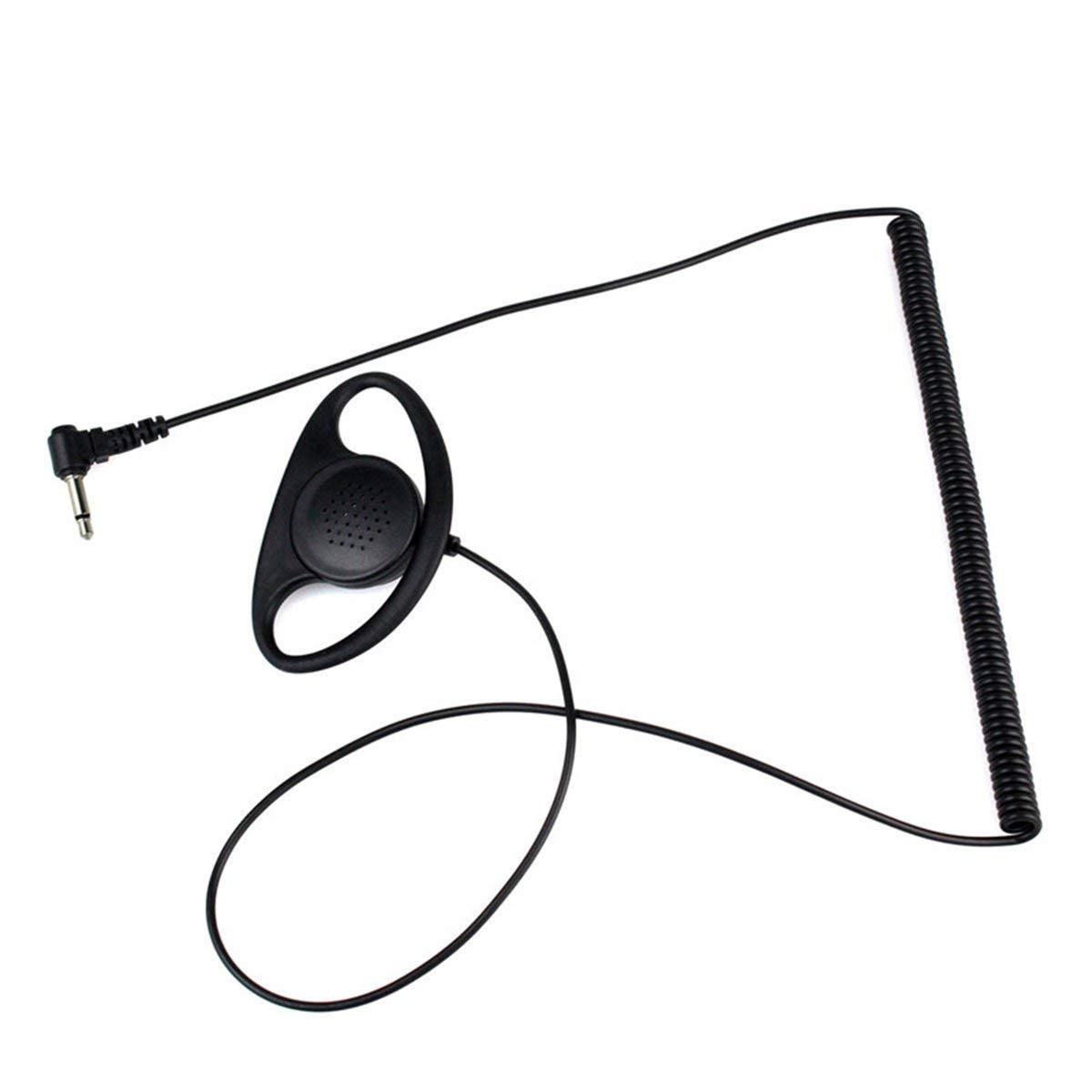 Curve One PCS Jack Curvo de 3,5 mm en Forma de D Solo para Escuchar Auriculares Auriculares para Dos transceptores de Radio Walkie Radio