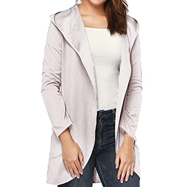 a06f135f4 Womens Open Front Knit Long Cardigan Solid Color Lightweight Hooded ...