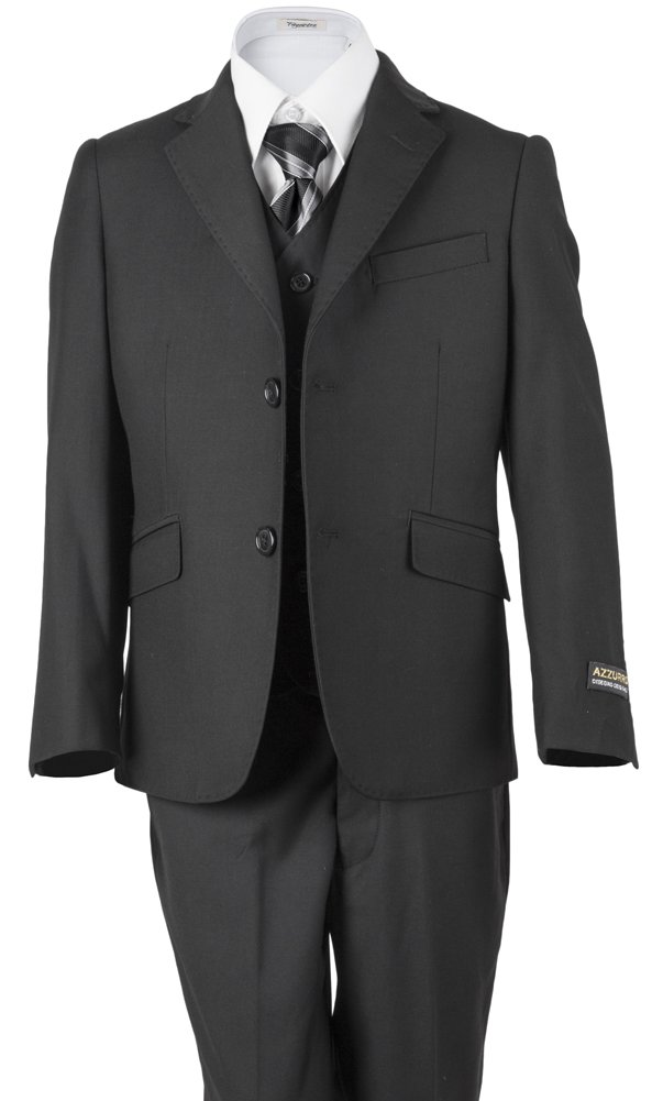 Azzurro Boys' Charcoal Gray 2 Button Pick stitched classic suit 3 Piece For Weddings, Ring Bearer Boy, Communions, Holidays, Birthday Party's, Choirs And All Special Events 5 Charcoal Gray