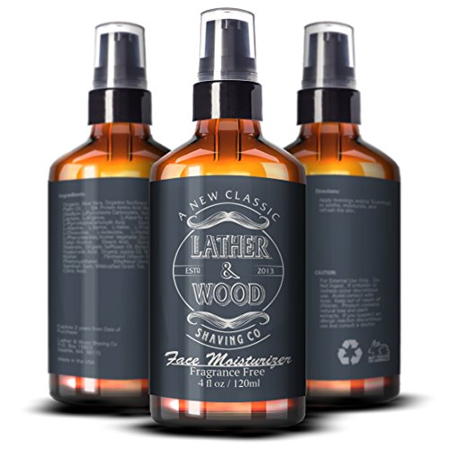 Face Moisturizer for Men - Lather & Wood's Luxurious Sophisticated Mens Moisturizer for the Man's Man. 4oz Fragrance-Free Face Cream for Men. (Unscented, 4 ounce)