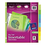 Big Tab Durable Plastic Insertable Dividers, 8-Tab, Letter, Multicolor, Total 24 ST, Sold as 1 Carton