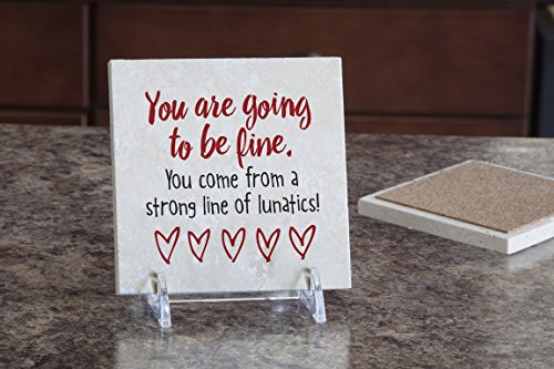 Imagine Design Relatively Funny You are Going to Be Fine, Travertine Coaster, Red/Black/White