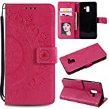 Galaxy A8 2018 Floral Wallet Case,Galaxy A8 2018 Strap Flip Case,Leecase Embossed Totem Flower Design Pu Leather Bookstyle Stand Flip Case for Samsung Galaxy A8 2018-Red