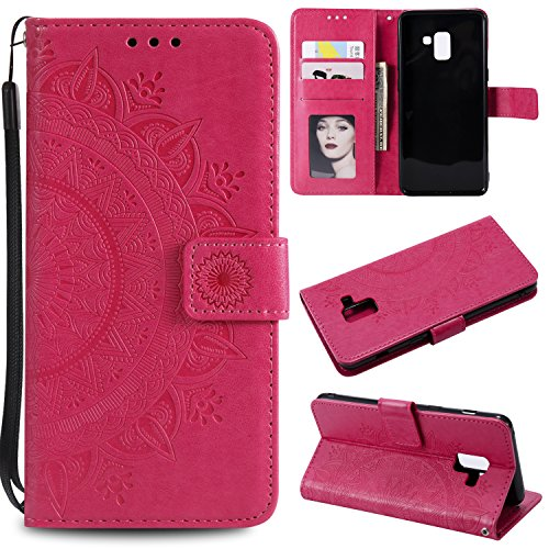 Galaxy A8 2018 Floral Wallet Case,Galaxy A8 2018 Strap Flip Case,Leecase Embossed Totem Flower Design Pu Leather Bookstyle Stand Flip Case for Samsung Galaxy A8 2018-Red by Leecase