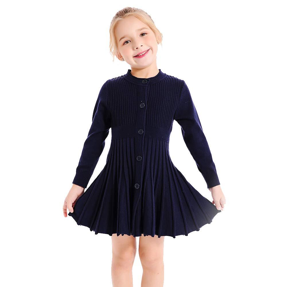SMILING PINKER Little Girls Pleated Dress School Uniform Long Sleeve Button Front Knit Sweater Dress (Navy Blue, 5-6)