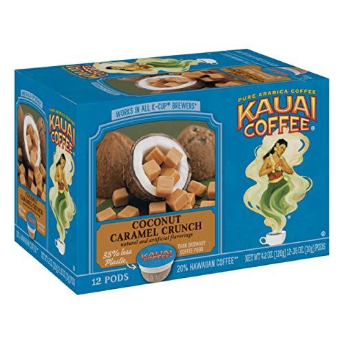 Kauai Coffee Single Serve Pods, Coconut Caramel Crunch, 12 Count (Pack of 4)