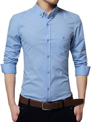 Mr.Macy - Camiseta de Manga Larga para Hombre - Azul Cielo ...