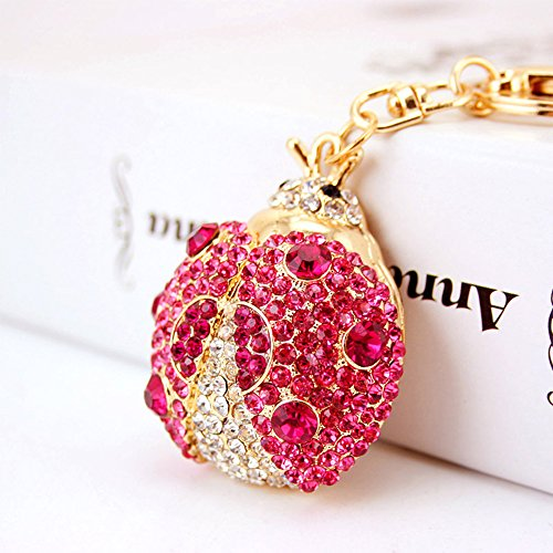 - Jzcky Shzrp Beautiful Ladybug Shape Crystal Rhinestone Keychain Key Chain Sparkling Key Ring Charm Purse Pendant Handbag Bag Decoration Holiday Gift(Rosy)
