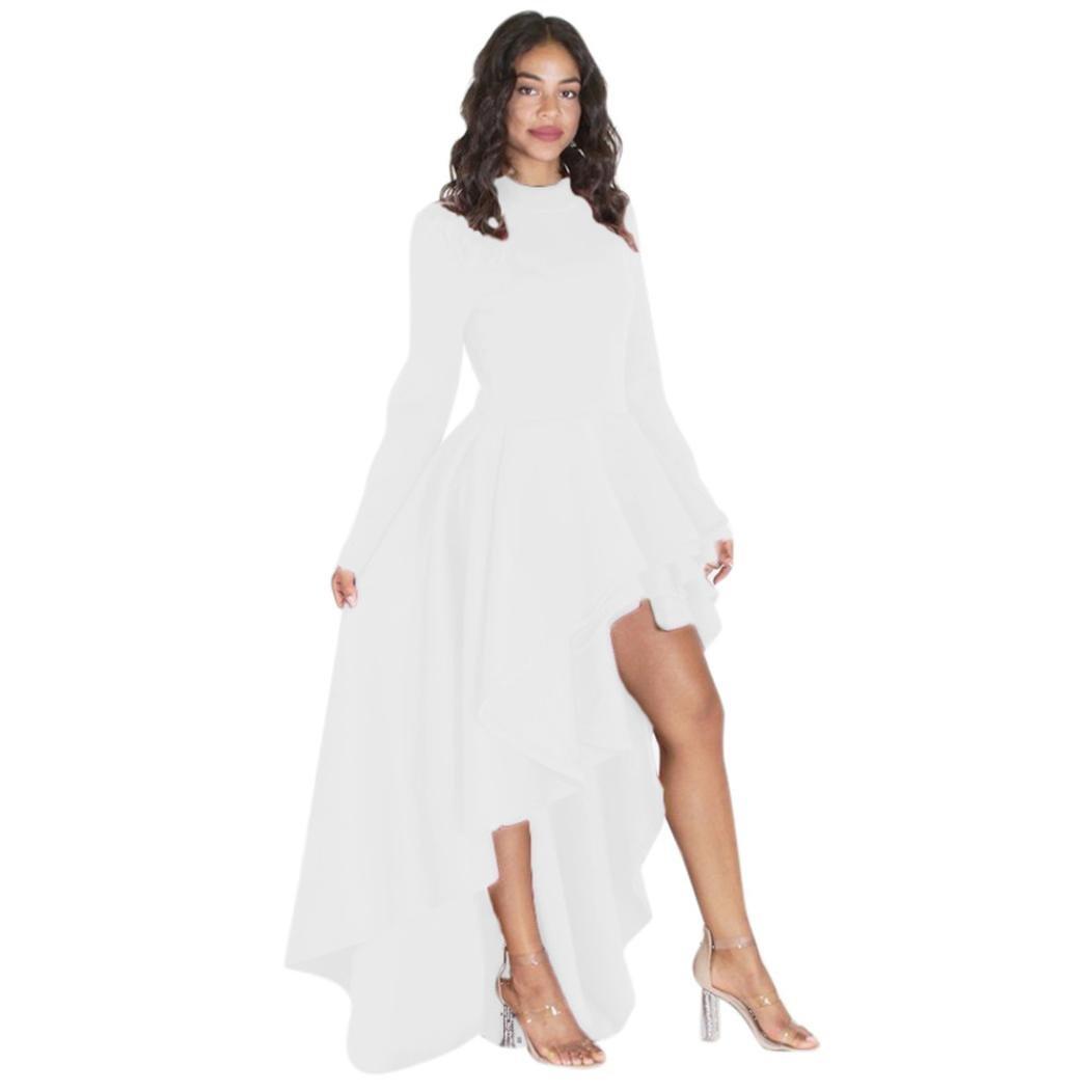 Goddessvan Women Short Sleeve High Low Peplum Dress Bodycon Party Club Asymmetrical Dress (XL, White-2)