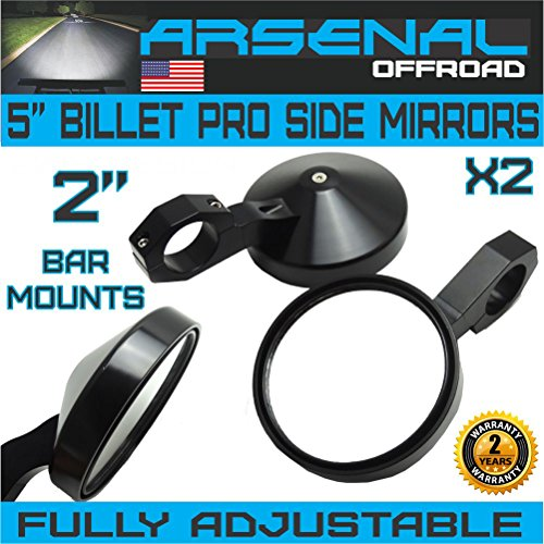 UTV Side View Mirrors Arsenal Pro Series Heavy Duty Military Grade Billet Aluminum with 2 Inch Clamps Can Am Commander Can Am Maverick X3 X RS Turbo R 2017-2018 ()
