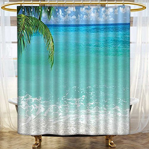 Shower Curtains with Shower Hooks Lebanon Panoramic Sea View and Clear Sky Aqua Blue Green Ivory Fabric Bathroom Set with Hooks W69 x H70 inch