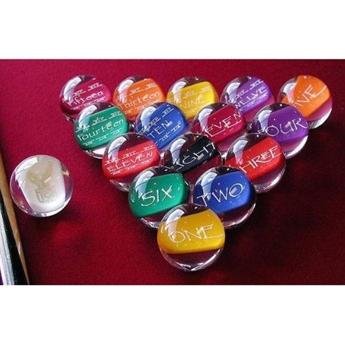 Epco Premium Quality, American Made, Clear-Hobbit Style Billiard or Pool Set, with 4.2oz, 2.25