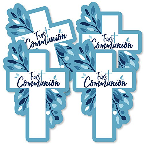First Communion Blue Elegant Cross - Decorations DIY Boy Religious Party Essentials - Set of -