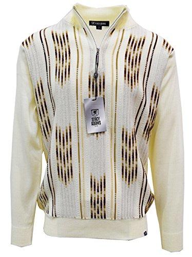 Stacy Adams Men's Sweater, Vertical Arrow Jacquard (3XL, Cream) (Adams Stacy Cream Mens)