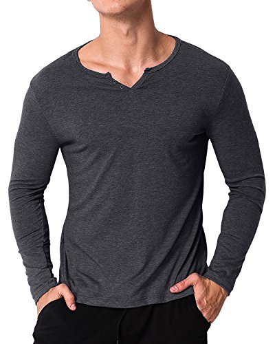 MODCHOK Men's Casual Long Sleeve T Shirts V Neck Sweatshirts Slim Fit Tops Dark Grey M (V-neck Henley Top)