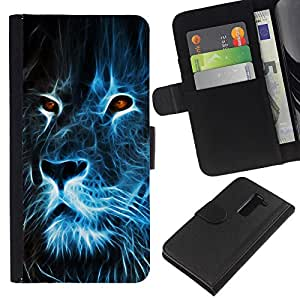 KLONGSHOP // Tirón de la caja Cartera de cuero con ranuras para tarjetas - Lion Blue Fire Burning Eyes Arte Dibujo - LG G2 D800 //