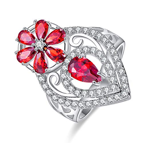 Jade Floral Band Ring - PAKULA Silver Plated Women Simulated Garnet Floral Knuckle Band Ring Size 9