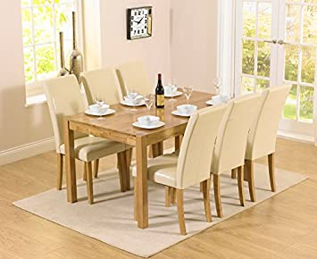 Montreal Solidwood Furniture 6 Seater Dining Table Chair Set With Cream  Atlanta Chairs