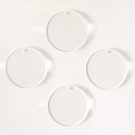 "50-2.75/"" Acrylic KeyChain Blank Circles Laser Cut POLISHED EDGES Clear Acrylic"