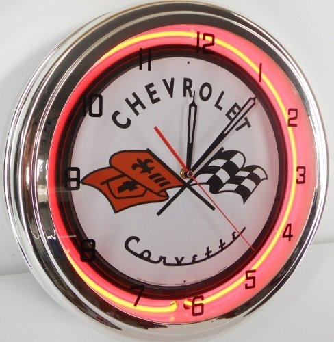 "Chevy Corvette Flags 15"" Neon Lighted Wall Clock Sign Orange"
