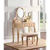 Roundhill Furniture 3418GL Ashley Wood Makeup Vanity...