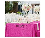 ShinyBeauty Rectangle-Sequin-Tablecloth-60x102-Inch-Hot Pink 5FT Table Linen Overlay (60'x102', Hot Pink)