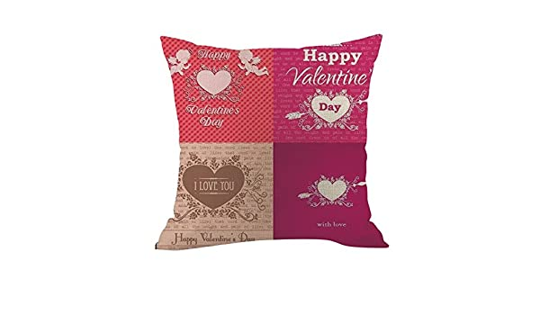 DIPOLA Funda de Almohada Happy LoveS Day Throw Funda de ...