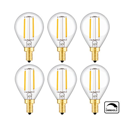 Antique Bronzed Pendant Base (OMAYKEY 2W Dimmable LED Filament Bulb 2700K Warm White, 20W Incandescent Replacement, E12 Candelabra Base G45 Antique Globe Light Bulbs, 360 Degrees Beam Angle, Pack of 6)