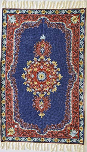 - Silk Rug - Persian design hand woven - Red Medallion in Royal Blue