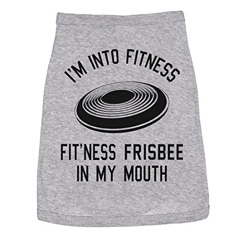 Dog Shirt Im Into Fitness Frisbee in My Mouth Funny Clothes Small Breed Daschund (Heather Grey) - S]()