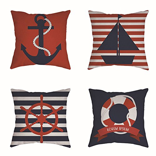"RuiHome Set of 4 Nautical Cushion Pillow Covers Cotton Linen Decorative Pillowcase Home Decor - 18"" x 18"""