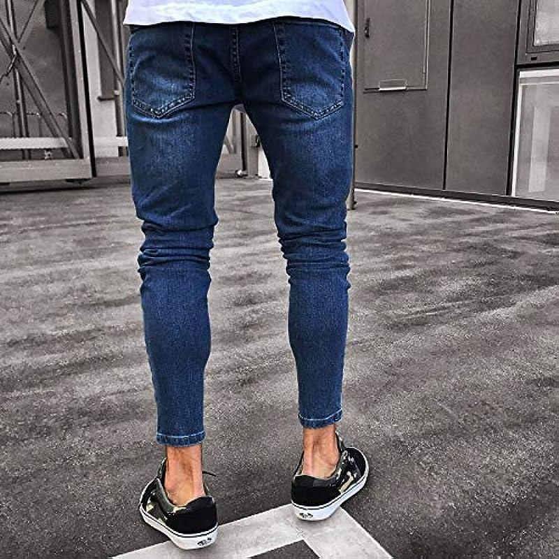 Loeay Mens Washed Hiphop Jeans Sexy Zerrissene Loch Stretch Röhrenhose Blaue Jeanshose Für Jungen Mann Zerrissene Löcher Jeans: Odzież