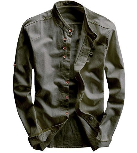 (utcoco Men's Vintage Linen Stand Collar Button up Shirt Long Sleeve (Large, Army Green))