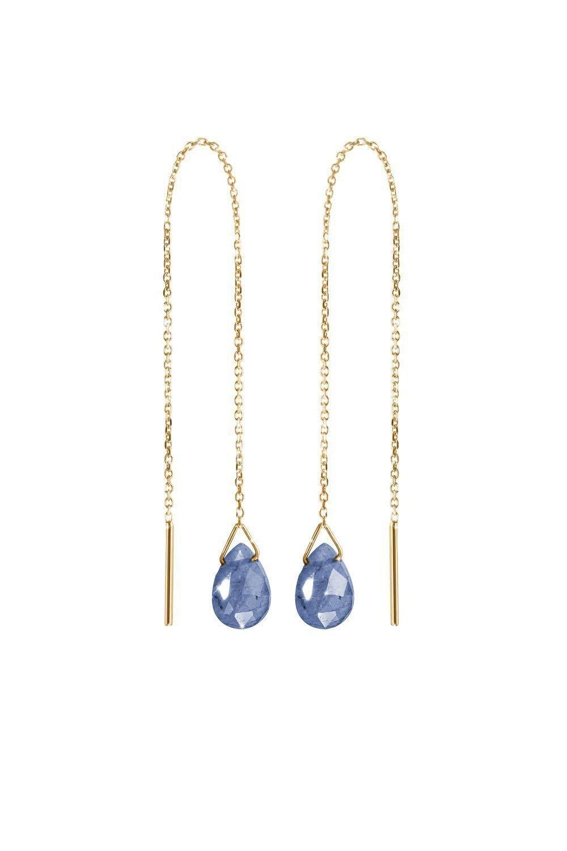 Blue Sapphire Threader Earrings, 9K, 14K, 18K Gold Earrings, Yellow Gold Threaders, Gold Chain Earrings, September Birthstone, Gemstone Earrings/code: 0.001