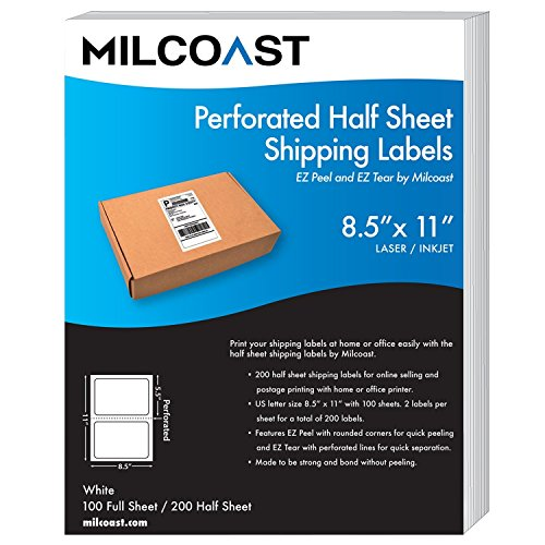 Ups Packing Slip (Milcoast Perforated Half Sheet Adhesive Shipping Labels – EZ Peel and EZ Tear, For Laser or InkJet Printers - For Shipping, FBA, UPS, USPS, FedEx (100 Sheets))