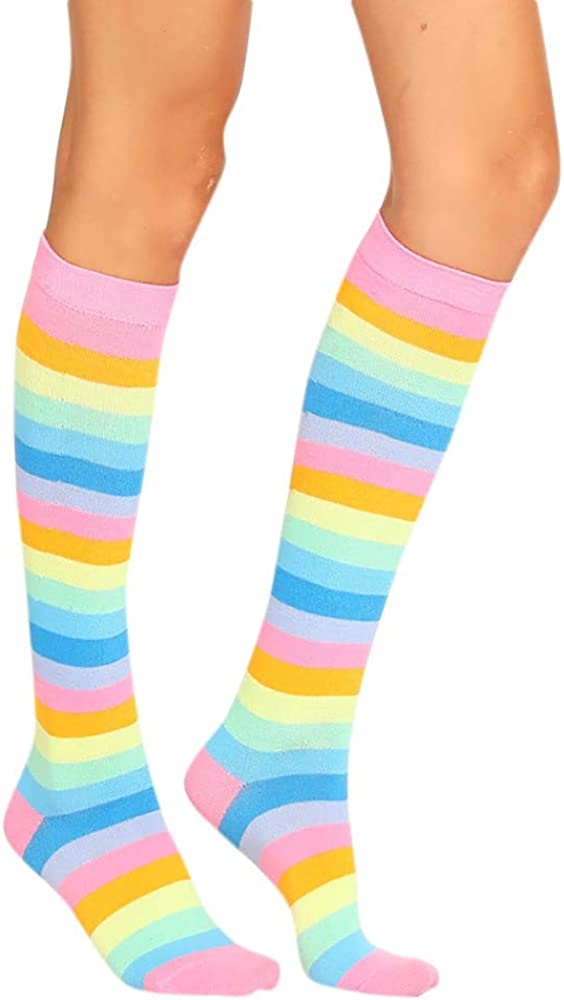 Tosonse Calcetines De Mujer Medias Sexis Para Mujer Calcetines Navideños Calcetines De Tubo Calcetines De Compresión De Rayas De Color Largo: Amazon.es: Ropa y accesorios