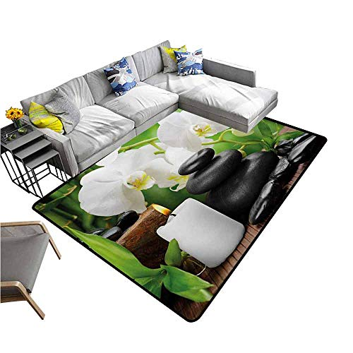 - Non-Slip Bath Hotel Mats Spa,Zen Hot Massage Stones with Orchid Candles and Magnificent Nature Remedies,Black White and Green 60