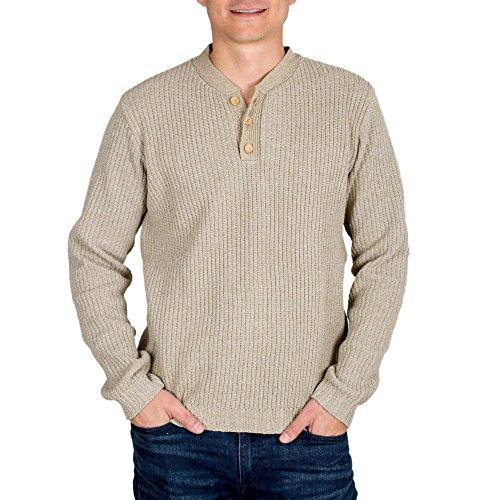 NOVICA Ivory Men's 100% Cotton Sweater, Maya - Cotton Maya Sweater