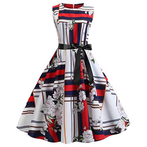 TIFENNY Sexy Fashion Dress for Women Vintage 1950s Retro Sleeveless O Neck 3D Print Evening Party Prom Swing Dress White