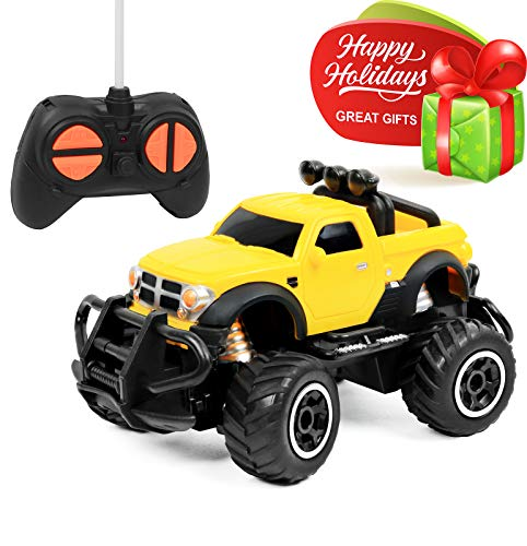 Click N' Play CNP1043 Remote Control Car, Mini Pickup Truck, Rock Crawler Radio Control Vehicle, Brown/A