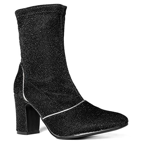 RF ROOM OF FASHION Comfortable Stretch Suede Zip Up Ankle Bootie Boots Black Glitter (8) ()