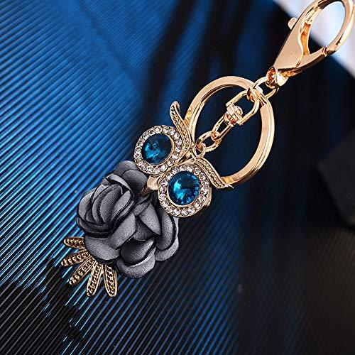 Kawaii Cute Animal Owl Flower Shape As Charms Car Key Chains Key Ring Tassels Keyring Keychains linnor Women Bag Charms DIY ()
